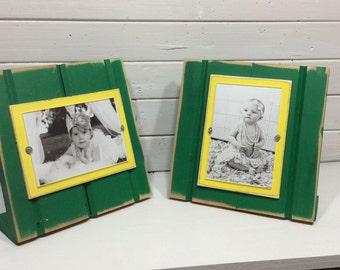 "Green and yellow table top picture frame holds one 4""x 6"" photo. John Deere colors"