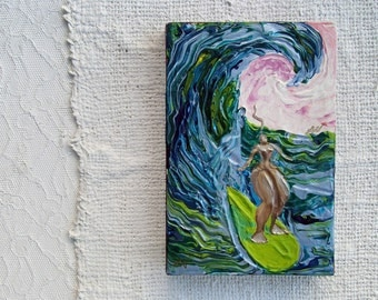 Tiny surf goddess painting Surfer girl surf art soul surfer original surf art Awesome