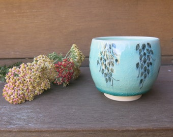 Aqua Bue Green Ceramic Yunomi, Tea Bowl, Tea Cup Woodland Botanical Hand Drawn and Painted, Handmade Artisan Pottery by Licia Lucas Pfadt