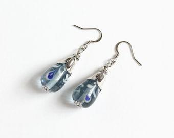 Large Blue Lampwork Glass Bead Earrings