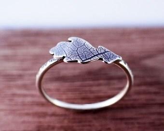 Oak Leaf Stacking Ring In Sterling Silver