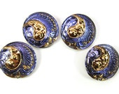 "Paisley Czech Glass Buttons, Blue and Gold Luster, 1"" 25mm, 4 pcs"