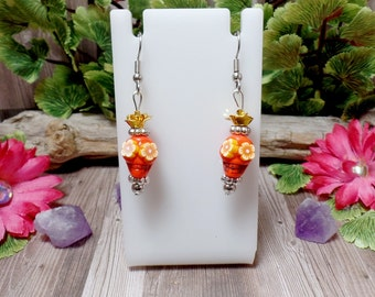 Orange Sugar Skull Earrings - Dia Del Los Muertos - Day of the Dead - Orange Earrings - Halloween - Clearance