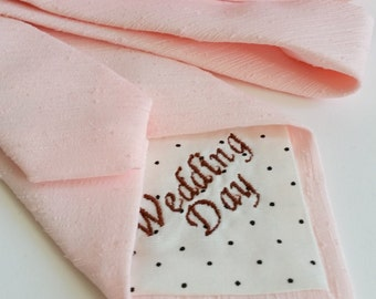 Wedding Day Neck Tie in Textured Blush Pink