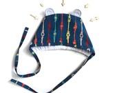 SALE! Baby Bonnet 6 months- Owlette Bear Bonnet