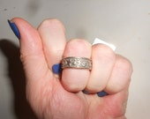 Sun*Moon*Star & Lightening Ring Sterling Silver Ring Unisex Band Vintage .925 Silver Size 8