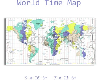 Time zone map | Etsy