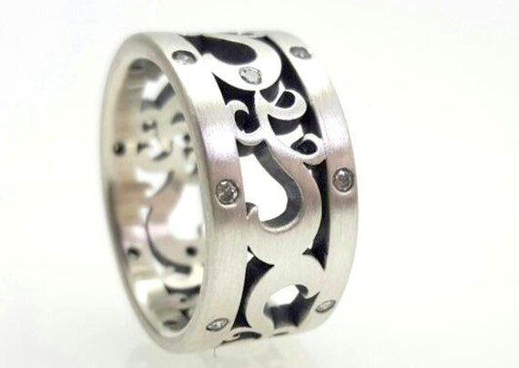 Paisley Diamond Wedding Band Sterling Silver Ready to Ship Free Shipping USA
