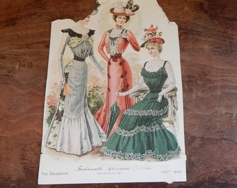 Antique Fashion Ephemera Delineator Magazine Plate July 1900 Full Color and Black & White Sides Shabby Chic Victorian Vintage Hat Dress