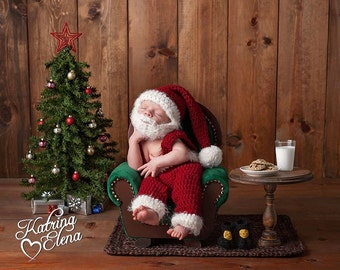 Newborn Santa Set Photo Prop/ Newborn Christmas Photo Prop/ Baby Boy Prop/ Santa Beard Hat/Crochet Santa Set/ Santa Baby Costume