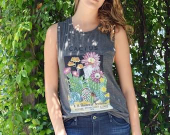 Cactus shirt Tank top / tshirt Succulent Flower Womens Gray Muscle Boho Festival Style / Vintage Illustration Digital Printed DTG/T1105