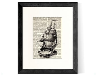 Ship Nautical Art Art Print Vintage Book Page Beautifully Matted Gift Decor