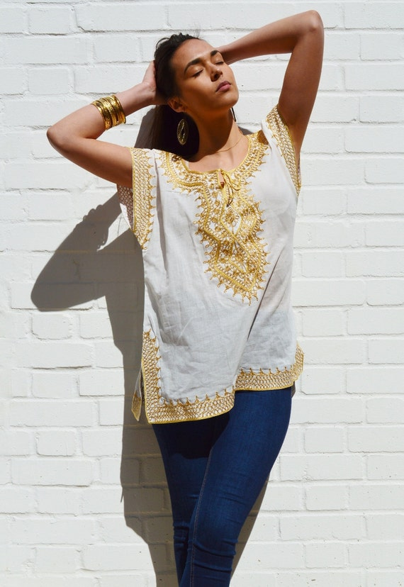 Christmas gifts- Asmahan Style White with Gold Embroidery Tunic-resortwear, birthday, beach wedding, bridesmaid gifts, Ramadan, Eid