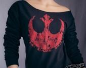 STAR WARS SWEATSHIRT Echo Base Hoth Rebellion Logo. Slouchy Off The Shoulder Raw Edge Flashdance Style Sweatshirt