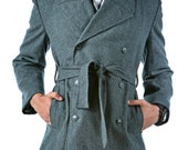 1960's REDESIGNED/ REVAMPED Swiss Army MILITARY Style Vintage Wool Trench Coat / Overcoat by Top Rank Vintage ( Unissued / Never Worn)