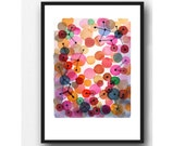 Abstract Watercolor print, abstract watercolor painting pink magenta  red bubbles - Abstract painting