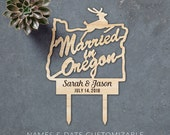 Married in Oregon Laser Cut Cake Topper with Etched Name and Date