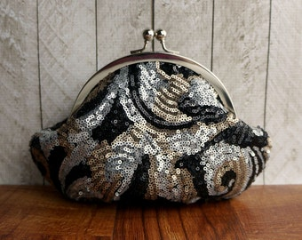 Gift for her, Framed evening bag, personalized purse, sequin wristlet clutch, black, silver, and gold sequins, party clutch