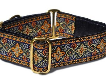Martingale Dog Collar or Buckle Dog Collar - Nobility Jacquard in Navy & Orange - 1.5 Inch
