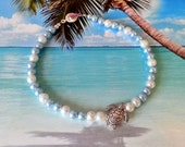 Reserved for Cynthia S Blue white pearl anklet with starfish charm