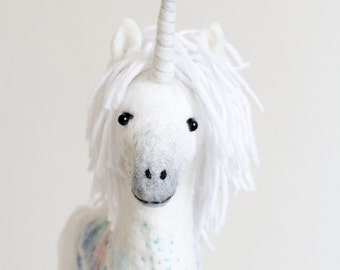Felt Unicorn - Art Toy, Felted White Handmade Marionette Puppet Stuffed Mythical animal horse baby shower gift nursery decor. white, pastel.