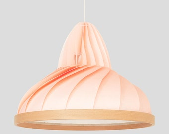 NEW: paper and wood lamp Wave pastel pink