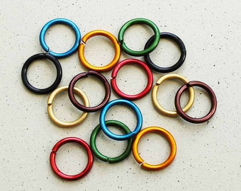 25 Aluminum Jump Rings 16mm Mixed Color Anodized Aluminum 14 gauge Thick Top Quality Made in Canada MT088