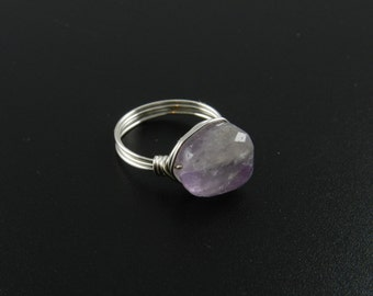 Amethyst ring, Silver wire wrapped amethyst ring, Amethyst wire wrapped ring, silver gemstone ring  Ask a question