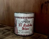 Rose's El Butcho Wax Tin Container Vintage 1950s Butch Hair Cut Pomade Advertisement Distressed Metal Round Box Barbershop Decor Retro Decor