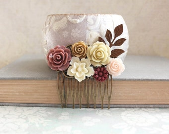 Romantic Floral Hair Comb Dusty Rose Tan Ecru Neutral Tones Country Wedding Flower Adornment Bridesmaids Gift Bridal Hair Piece