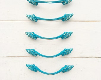 French Provincial Drawer Pull , In Dark Teal , French Teal , Metal Decor ,Bright Blue , Old World Charm,Aqua Gold, Distressed Shabby Chippy,