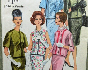 Vintage Vogue 5233 Sewing Pattern, 1960s Suit Pattern, 1960s Sewing Pattern, Bust 36, Skirt Pattern, Top pattern, Midcentury Fashion