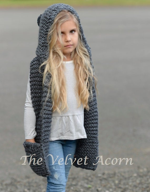 Knitting PATTERN-The Tuft Hooded Scarf (12/18 months ...