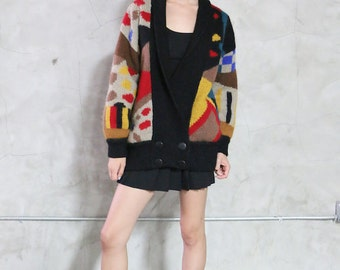 cardigan, sweater, 80s  abstract geometric  colorful pattern, knit jumper, button front,oversized, womens small