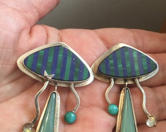 Lapis Malachite STERLING SILVER ARTISAN Unique Earrings 26.8 grams Multistone