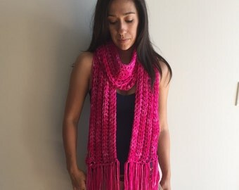 Pink Hand Dyed Pure Merino Fringe Scarf,  Fashion Accessories