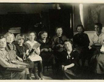 "Vintage Photo ""School House Lessons"" Class Room Student Teacher Americana Children Boy Girl Friends Antique Black & White Photograph - 151"