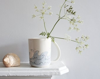 sea pottery, nautical mug, large porcelain mugs, unique coffee mug, white pastel mug, fish mug, seaside pottery mug, large handle mug