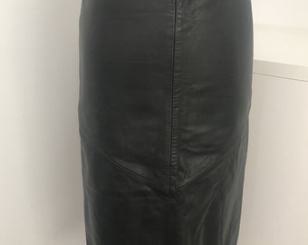 80's Vintage Black Leather Pencil Skirt