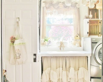 Under Sink Ruffled Curtain For Farmhouse Sink Shades Up & Co!