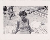 Sunny Days Forever- 1950s Vintage Photograph- Woman in Swimsuit- Beach Decor- 50s Bathing Suit- Beach Snapshot- Found Photo- Paper Ephemera