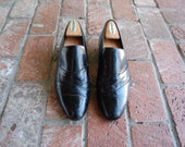Vintage Mens 9 Stacy Adams All Leather Black Slip On Oxfords Dress Shoes Wedding Suit Shoes Preppy Hipster Plimsolls Loafers Spring Fashion