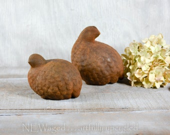 Quail figurines, primitive, rustic home decor, ceramic figurines