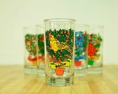 Replacement Vintage Twelve Days of Christmas Drinking Glass:  4th Day My True Love Sent To Me Four Colly Birds