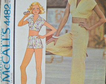 McCall's 4482 Top, Pants, and Shorts Pattern, Size 12, Vintage 1975
