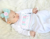 Newborn Girl Take Home Outfit Monogram Baby Girl  Clothes Shabby Chic Layette Gown Personalized Baby Coming Home Outfit New Baby Gift