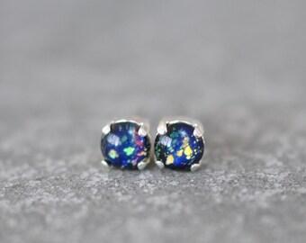 Opal Rainbow Stud Earrings Vintage German Glass Metallic Rainbow Opal Blue Black Glass 6mm Studs Teenies RARE Petite Earrings Mashugana