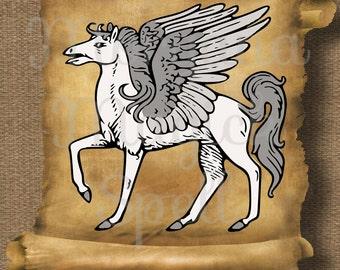 PEGASUS HORSE  Royalty Free Clipart Fantasy Storybook Illustration  Digital Image Download Printable Graphic Clip Art Transfers Prints