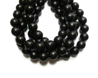 Black Howlite - 12mm Round Bead - Full Strand - 33 beads - Synthetic Turquoise