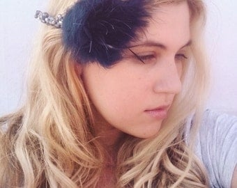 Navy Blue Feather Comb - Navy Blue Hair Comb with Freshwater Pearls and Czech Glass - Bridesmaid Hair Comb